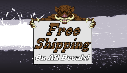 Decalhog.com offers free shipping on all of our quality American made vinyl cut stickers and decals!